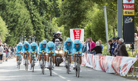Team Astana - Team Time Trial 2015 Stock Afbeelding