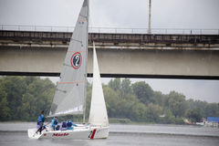 Team athletes participating in the sailing competition. Kyiv, Ukraine - August 12,2016:Sailing school in Kiyv, Ukraine - August 2016 - Young people learning to Royalty Free Stock Photos