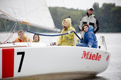 Team athletes participating in the sailing competition. Kyiv, Ukraine - August 12,2016:Sailing school in Kiyv, Ukraine - August 2016 - Young people learning to Stock Photography