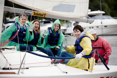 Team athletes participating in the sailing competition Stock Photography