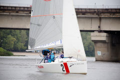 Team athletes participating in the sailing competition Royalty Free Stock Photography