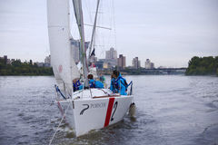 Team athletes participating in the sailing competition Stock Photo