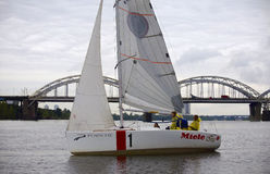 Team athletes participating in the sailing competition Stock Photos