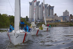 Team athletes participating in the sailing competition Royalty Free Stock Photos
