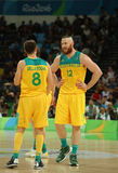 Team Australia in action during group A basketball match of the Rio 2016 Olympic Games against team USA Royalty Free Stock Images