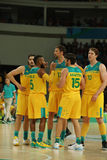 Team Australia in action during group A basketball match of the Rio 2016 Olympic Games against team USA Royalty Free Stock Image