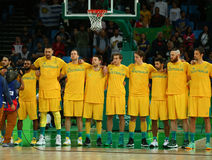 Team Australia before group A basketball match of the Rio 2016 Olympic Games against team USA Stock Images