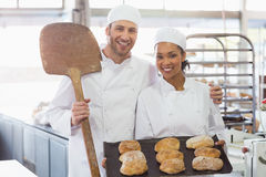 Team of bakers smiling at camera with trays of loaves Royalty Free Stock Photo