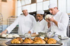 Team of bakers working at counter. In the kitchen of the bakery Royalty Free Stock Photography