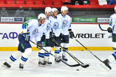 Team Barys hockey players waiting for their turn to break Royalty Free Stock Photo