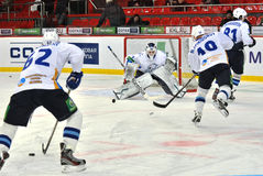 Team Barys hockey players warm up before the game Stock Photo