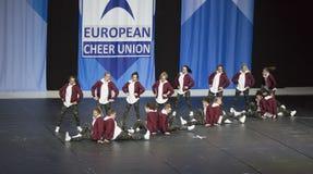 Team BCA-joker från Tyskland som utför på de Cheerleading mästerskapen 2018 för ECU-europén Royaltyfria Bilder
