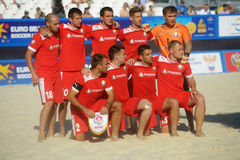 Team Belarus na liga de futebol Moscou da praia do Euro 2014 Foto de Stock Royalty Free
