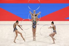 Team Belarus Rhythmic Gymnastics royalty free stock photos