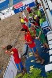 Team bench cheering stock photos