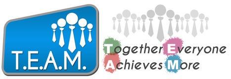 Team - bereikt iedereen samen Kleurrijker Blauw Stock Foto