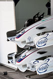 Team BMW-Sauber F1, two front wing, 2006. JEREZ DE LA FRONTERA, SPAIN - OCT 10: Two front wings of BMW-Sauber F1 waiting on pits on training session on October Royalty Free Stock Photos