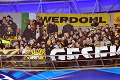 Team Borussia fans on the sector Royalty Free Stock Image
