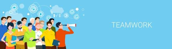 Team Boss Hold Binoculars Teamwork för affärsfolk baner med kopieringsutrymme Arkivbild