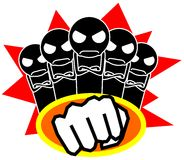 Team boys. Illustration representing several boys with a fist before Royalty Free Stock Image