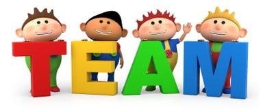 Team boys. Cute little cartoon boys with TEAM letters - high quality 3d illustration Stock Image