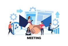 Team brainstorming business meeting concept business people hand shake partnership successful agreement office teamwork. Process flat horizontal vector stock illustration