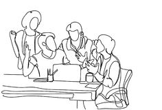 Team Brainstorming Doodle Business Men criativo discute ideias, o plano e a estratégia novos na reunião ilustração do vetor