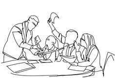 Team Brainstorming incorporado, grupo de homens de negócio e de mulheres que trabalham na estratégia nova junto ilustração stock