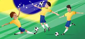 Team brazil football soccer players set kicking the ball Royalty Free Stock Image