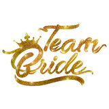 Team Bride text in gold dust. On an isolated white background Royalty Free Stock Images