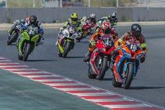 Team Broke Racing 24 timmar av Catalunya Motorcycling Fotografering för Bildbyråer