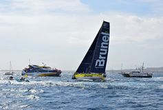 Team Brunel Passes Police And Spectator Boats Volvo Ocean Race Alicante Royalty Free Stock Images