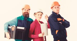 Team of builders concept. Cheerful team of architects royalty free stock photo