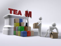 Team building. 3D figures engaging in a team building exercise royalty free illustration