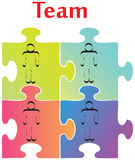 Team Building. Vector of four jigsaw puzzle pieces on the topic of team building royalty free illustration