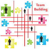 Team Building. Vector of four jigsaw puzzle pieces on the topic of team building vector illustration
