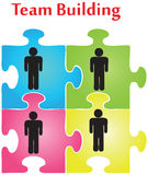 Team Building. Vector of four jigsaw puzzle pieces on the topic of team building stock illustration