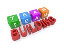 Team building. 3D letter cubes and words team building in red letters Stock Photo