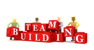Team building. Illustration of team building using four mannequins putting together red blocks with the words ' team building ' isolated on white background Royalty Free Stock Images