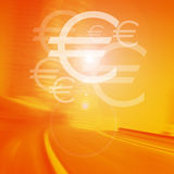Team Building. Euro on road background vector illustration