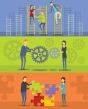 Team building banner horizontal set, flat style royalty free illustration