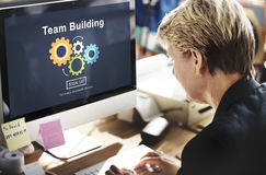 Team Building Business Collaboration Development Concept. Business Woman Using Computer Screen Display Team Building Business Collaboration Development Royalty Free Stock Images