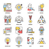 Team building business communication outline icons vector isolated together command teamworking. And organization partnership. Leadership seminar presentation Royalty Free Stock Photography