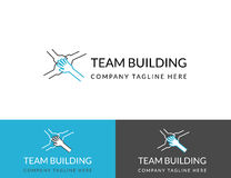 Team building business logo design in three colors vector illustration