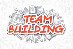 Team Building - Cartoon Red Text. Business Concept. Royalty Free Stock Photo