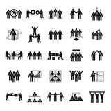 Team-building che prepara le icone messe, stile semplice Fotografie Stock Libere da Diritti
