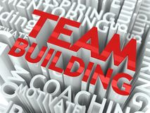 Team Building Concept. The Word of Red Color Located over Text of White Color Royalty Free Stock Photos