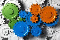 Team Building Concept. Gears or cogwheel working together. Concept image for team building or teamwork stock illustration