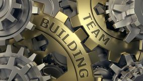 Team building concept - Gold and silver gear weel background illustration. 3d render. Close-up stock illustration