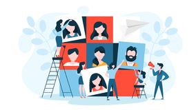 Team building concept. Group of people gather and work. Together to get good business results concept. Idea of communication and cooperation. Vector stock illustration